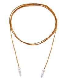Fashion White Diamond Decorated Bullet Pure Color Necklace