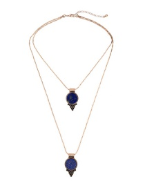 Fashion Blue Diamond Decorated Double Layer Pure Color Necklace