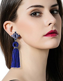 Fashion Blue Diamond&tassel Decorated Pure Color Earrings