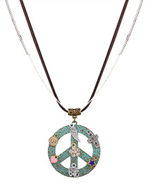 Fashion Bronze Star&heart Decorated Double Layer Color Matching Necklace