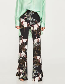 Fashion Multi-color Cranes Pattern Decorated Color Matching Trousers