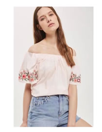 Fashion Pink Embroidery Flower Decorated Off Shoulder Pure Color Shirt