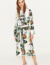 Fashion White Flower Pattern Decorated Color Matching Long Sleeve Coat