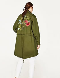 Fashion Armygreen Embroidery Flower Decorated Pure Color Long Sleeve Coat