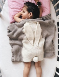 Fashion Gray Rabbit Shape Decorated Pure Color Blanket