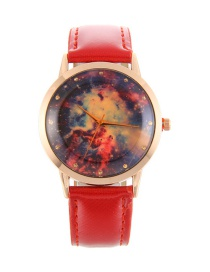 Elegant Red Stars Pattern Decorated Pure Color Watch
