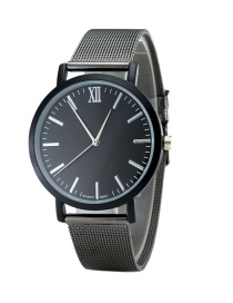 Fashion Black Round Dial Decorated Pure Color Watch