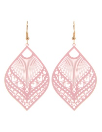 Fashion Pink Leaf Shape Decorated Hollow Out Pure Color Earrings