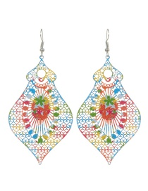 Fashion Multi-color Printing Flower Decorated Color Matching Earrings