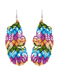 Fashion Multi-color Leaf Shape Decorated Hollow Out Pure Color Earrings