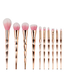 Fashion Rose Gold Pure Color Decorated Simple Makeup Brush(10pcs)