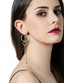 Fashion Gold Color Circular Ring Shape Decorated Pure Color Earrings