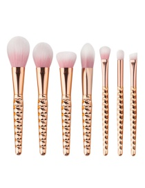 Fashion Rose Gold Pure Color Decoraed Simple Makeup Brush (7pcs)