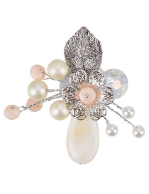 Fashion White Pearl Decorated Flower Shape Color Matching Brooch