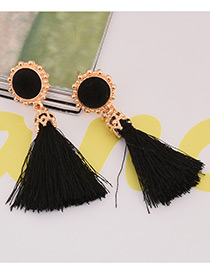 Fashion Black Tassel Decorared Pure Color Earrings