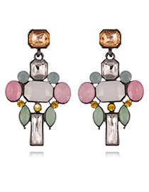 Fashion Multi-color Diamond Decorated Color Matching Earrings