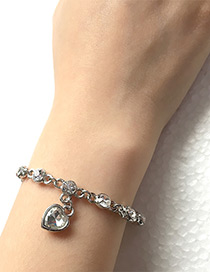 Elegant Silver Color Heart Shape Decorated Bracelet