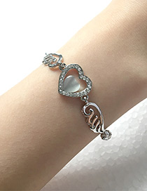 Elegant Silver Color Heart&wing Shape Decorated Bracelet