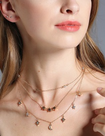 Fashion Gold Color Star&moon Decorated Multilayer Necklace