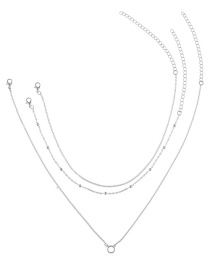 Fashion Silver Color Round Shape Decorated Multilayer Necklace