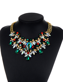 Fashion GREEN Diamond Decorated Water Drop Shape Pure Color Necklace