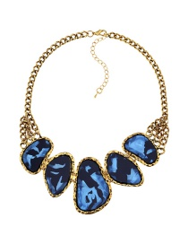 Fashion Blue Geometric Shape Gemstone Decorated Necklace