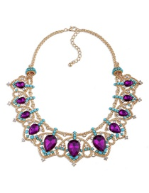 Fashion Purple Water Drop Shape Diamond Decorated Necklace
