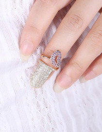 Fashion Gold Color Full Diamond Decorated Lip Shape Ring