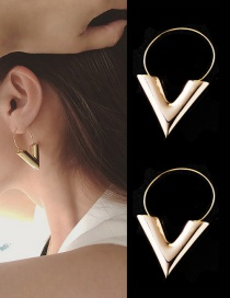 Fashion Gold Color Symbol V Shape Decorated Pure Color Earrings