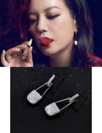Fashion Silver Color Lock Shape Decorated Pure Color Earrings