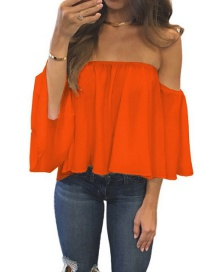 Fashion Orange Pure Color Decorated Off Shoulder Pure Color Shirt