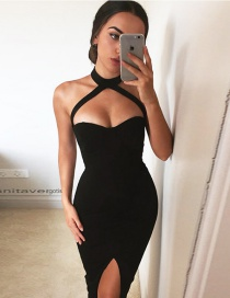 Fashion Black Hanging Neck Decorated Pure Color Dress