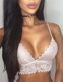 Sexy White Lace Decorated Pure Color Simple Bra