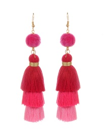 Fashion Plum Red Tassel&fuzzy Ball Decorated Pure Color Pom Necklace
