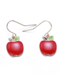 Lovely Red Apple Shape Decorated Earrings