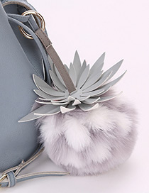 Lovely Gray+white Strawberry Decorated Key Ring
