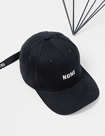 Fashion Black Embroidery Letter Decorated Pure Color Cap