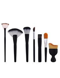 Fashion Black Irregular Shape  Decorated Simple Brush (7pcs)