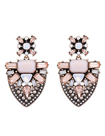 Vintage Pink Geometric Shape Decorated Earrings