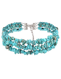 Fashion Blue Pure Color Decorated Multi-layer Simple Necklace