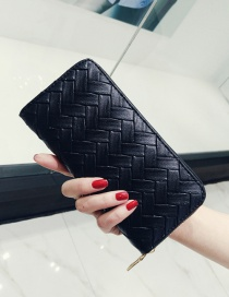 Fashion Black Pure Color Decorated Weave Shape Wallet