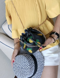 Fashion Black Pineapple Pattern Decorated Pure Color Shoulder Bag