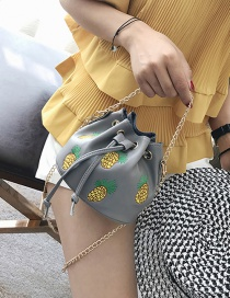 Fashion Gray Pineapple Pattern Decorated Pure Color Shoulder Bag