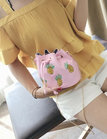 Fashion Pink Pineapple Pattern Decorated Pure Color Shoulder Bag