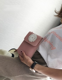 Fashion Pink Flower Shape Decorated Pure Color Shoulder Bag