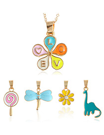 Fashion Multi-color Flower&candle&dragonfly Shape Decorated Simple Necklace
