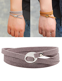 Fashion Gray+white Rivet Decorated Multi-layer Pure Color Bracelet