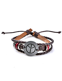 Fashion Coffee Peace Sign Decorated Multi-layer Simple Bracelet