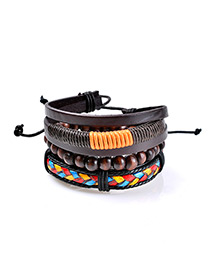 Fashion Multi-color Bead Decorated Multi-layer Simple Bracelet
