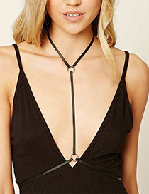 Fashion Black Circular Ring Decorated Pure Color Body Chain